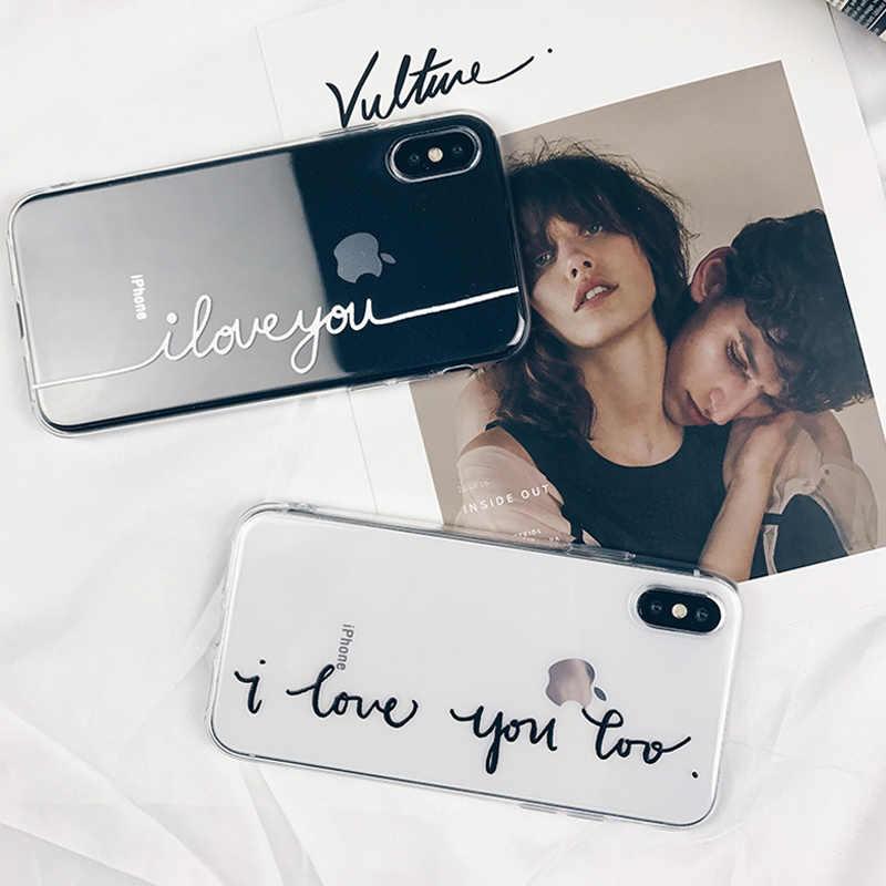 Чехол для телефона Lovebay Couples для iPhone 11 Pro 7 8 6 6s Plus 5 SE X XR XS Max прозрачный мягкий силиконовый чехол из ТПУ с надписью Love