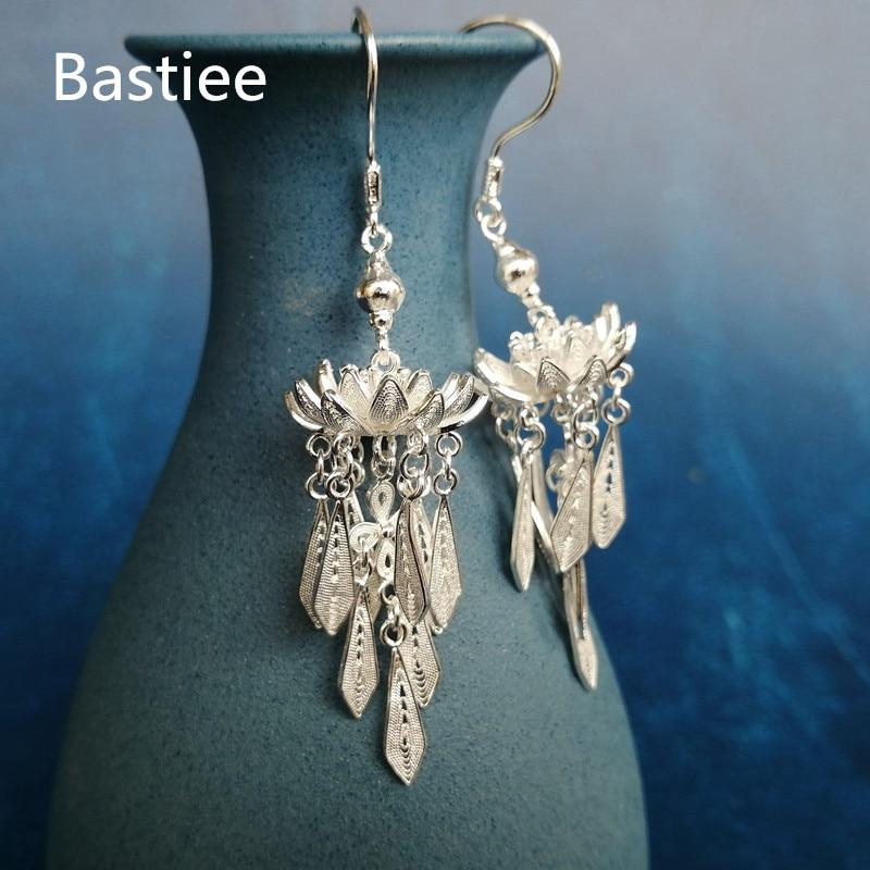 Bastiee Lotus fleur 999 en argent Sterling boucles d'oreilles pour les femmes goutte glands boucles d'oreilles de luxe bijoux Miao à la main cadeaux filles