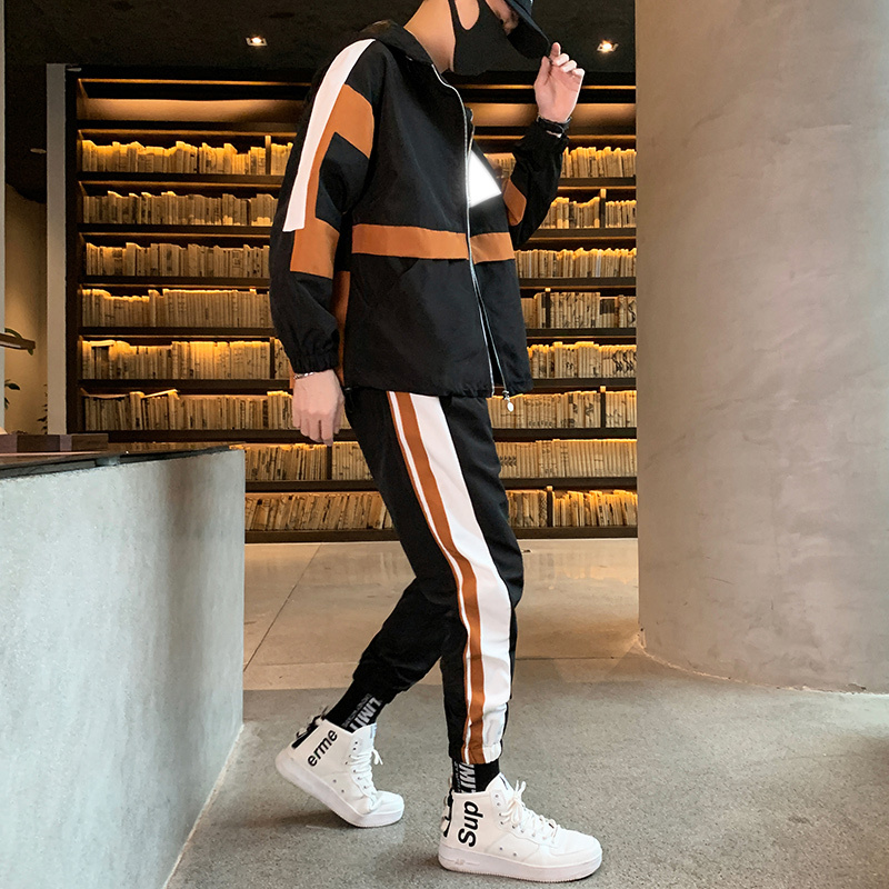 Fashion Autumn Spring Sporting Suit Sweatshirt + Sweatpants Mens Clothing 2 Pieces Sets Slim Tracksuit 2019 Brand New Men Sets