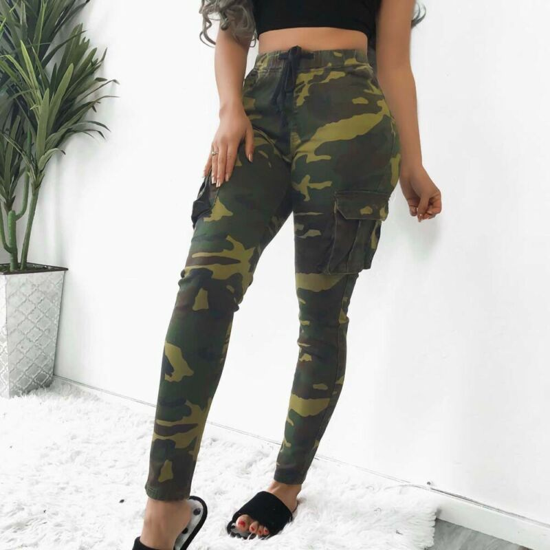 New Women's Camo Cargo Trousers Casual Pant Military Army Combat Camouflage Print Cargo Pants Women Streetwear Tracksuit Women