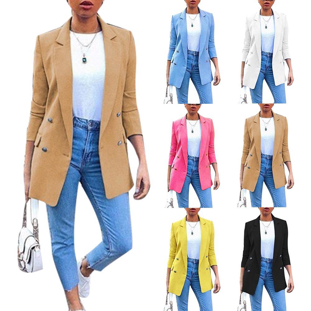 S-5XL Plus Size Autumn Office Lady Blazers Solid Color Blazer Long Sleeve Suit Jacket New Women Blouses Long Suit Cardigan Coat