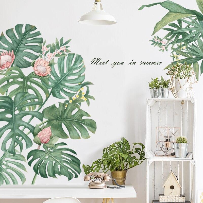 Adhesivos removibles para pared Monstera hojas de palma Tropical plantas verdes puerta pegatinas impermeable papel de pared arte moderno Nivelador de posición de ajuste de altura de azulejos, nivelador Manual, azulejos de pared auxiliares, Espaciadores, herramienta de construcción de cerámica