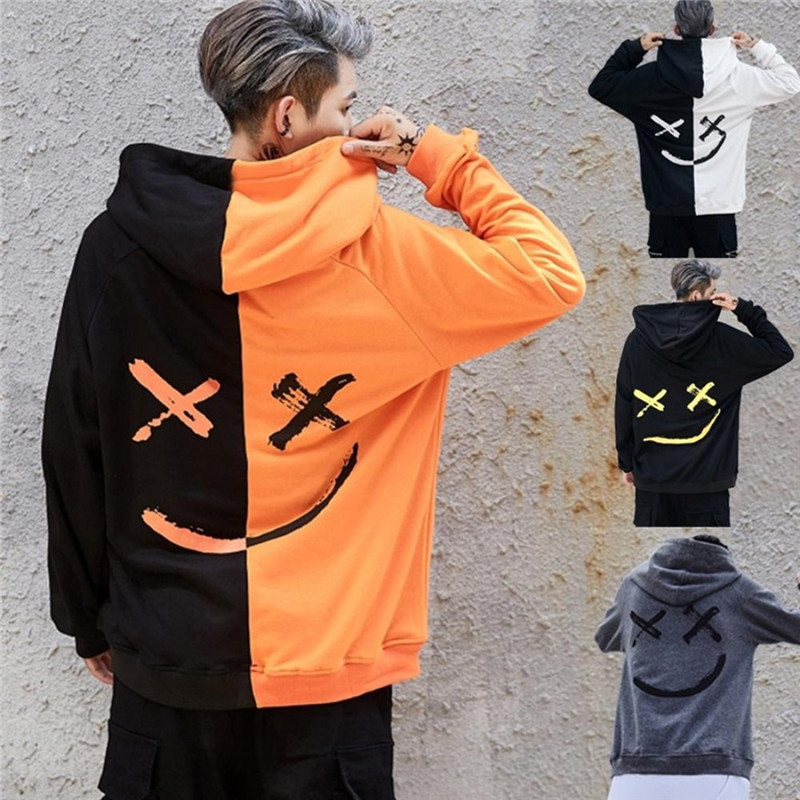 Men Hoodies Sweatshirts Fashion Smile Print Patchwork Headwear Hoodie Hip Hop Streetwear Couple Unisex Hooded Pullover Plus Size