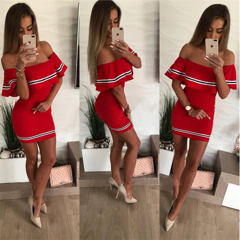 H35bddfe6a03c492a8461b3eeace727f3w - Off Shoulder Slash Neck Sexy Autumn Party Dress Striped Ruffles Short Sleeve Summer Dress Women Plus Size Casual Beach Vestidos