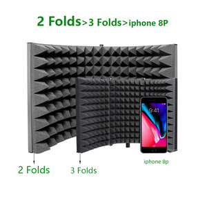 Image 2 - MAONO stüdyo mikrofonu İzolasyon kalkanı katlanabilir yüksek yoğunluklu emici köpük ön Panel ses emici vokal kayıt