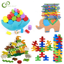 Building-Blocks Early-Learning-Toy Wood-Moon Balancing Educational-Toys Animals Kids