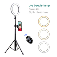 Makeup Mirror With Light Make Up Tripod Phone Selfie Stick Live Bracket USB Round Fill Light Lamp Complementary Light Set