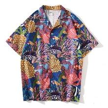Харадзюку много рыбы летом с коротким рукавом кнопка рубашка мужчины женщины одежда отложным воротник Гавайская одежда мода повседневная топ
