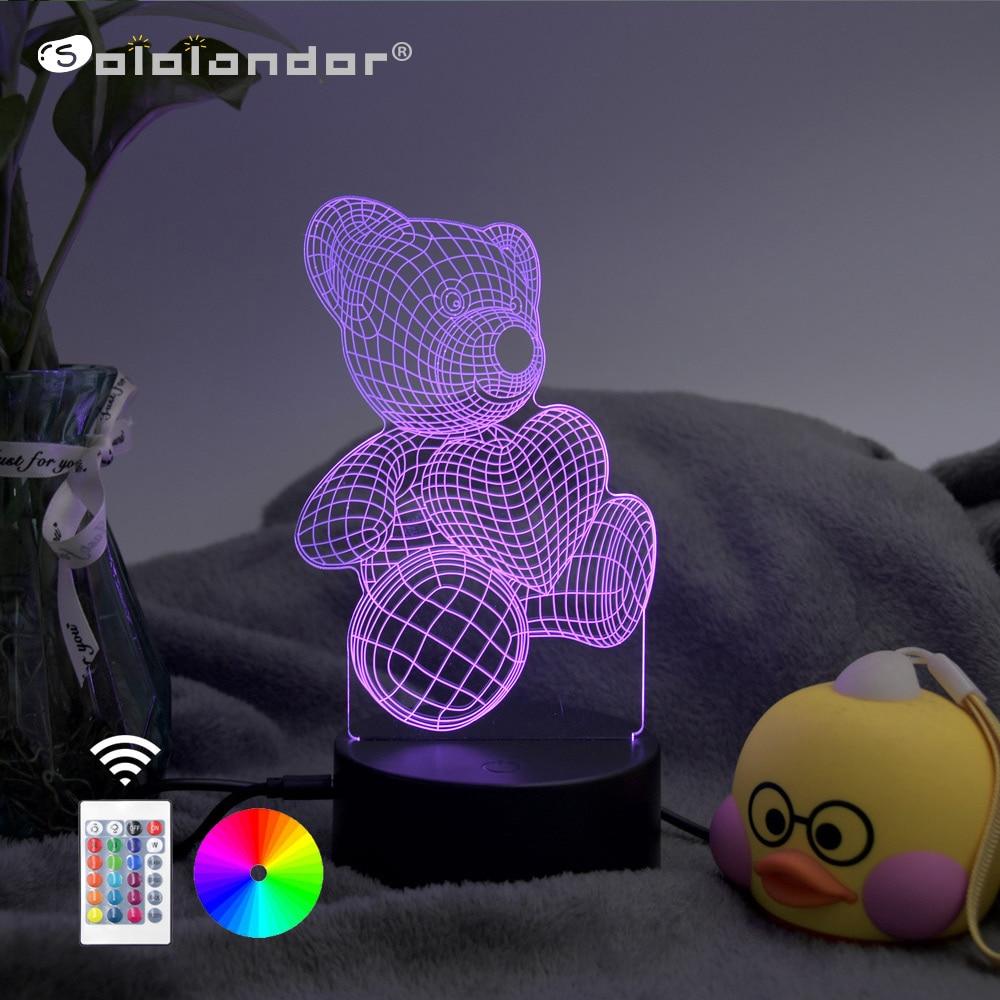 Newest 3D Lamp Led Verlichting Kleurverandering Sensor Led Beer Nachtlampje Hart Ballon Thuis Kamer Decoratie Beste Kind Gift