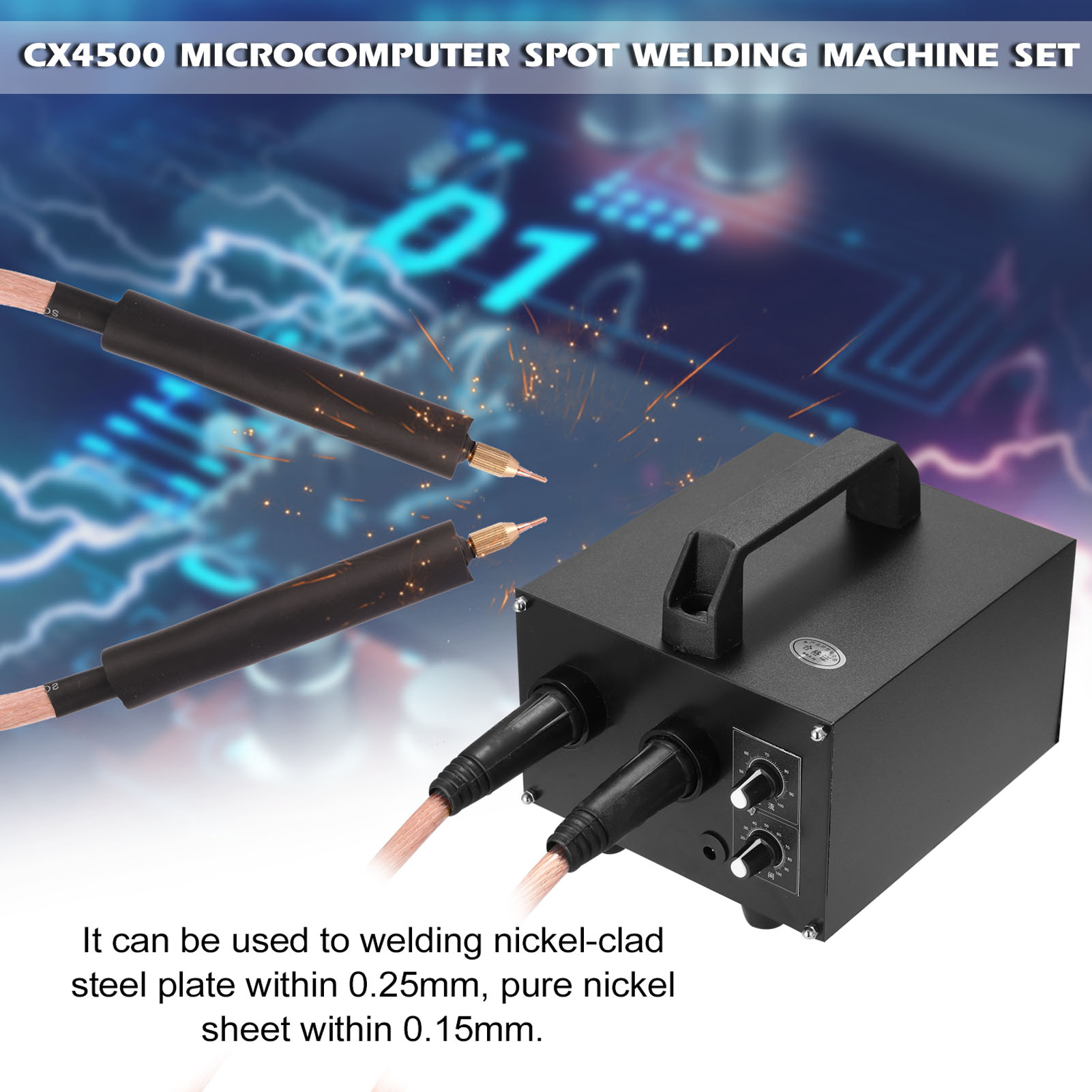 Tools : 220V 110V Microcomputer Spot Welding Machine Set 20ms-1s Time Adjustable 640-1600A Current for 0 25mm Nickel-clad Steel Plate
