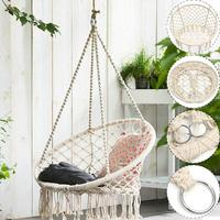 Safe Beige Cotton Woven Hanging Hammock Chair Swing Rope Outdoor Indoor Home Bar Garden Seat Hang Chair For Kids Child Adult