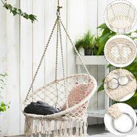 Safe Beige Cotton Woven Hanging Hammock Chair Swing Rope Outdoor Indoor Home Bar Garden Seat Hang Chair For Kids Child Adult