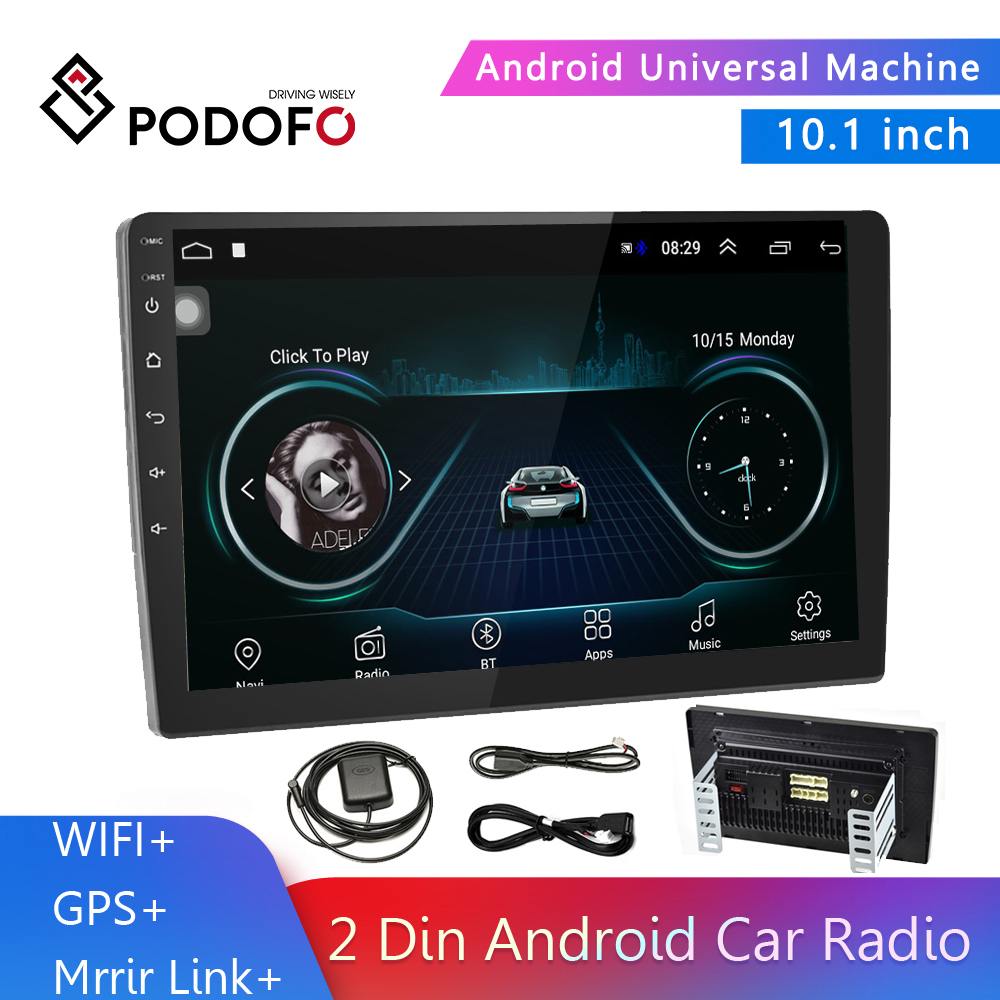 Podofo 10.1'' Android 2 Din Car Radio Multimedia MP5 Player GPS Navigation Autoradio Bluetooth WIFI Mirror Link Car Audio Stereo