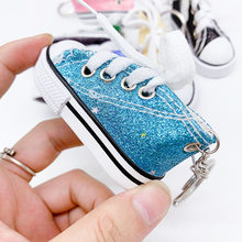 Key Ring Canvas Shoes Keychain Bag Charm Woman Men Kids Key Holder Gift Sports white Sneaker Key Chain Accessories Funny Gifts(China)