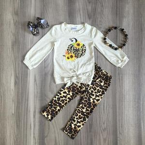 Image 1 - children Girls Halloween clothing girls leopard print outfits with pimpkin print kids boutique clothes with accessories