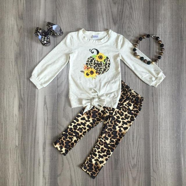 children Girls Halloween clothing girls leopard print outfits with pimpkin print kids boutique clothes with accessories
