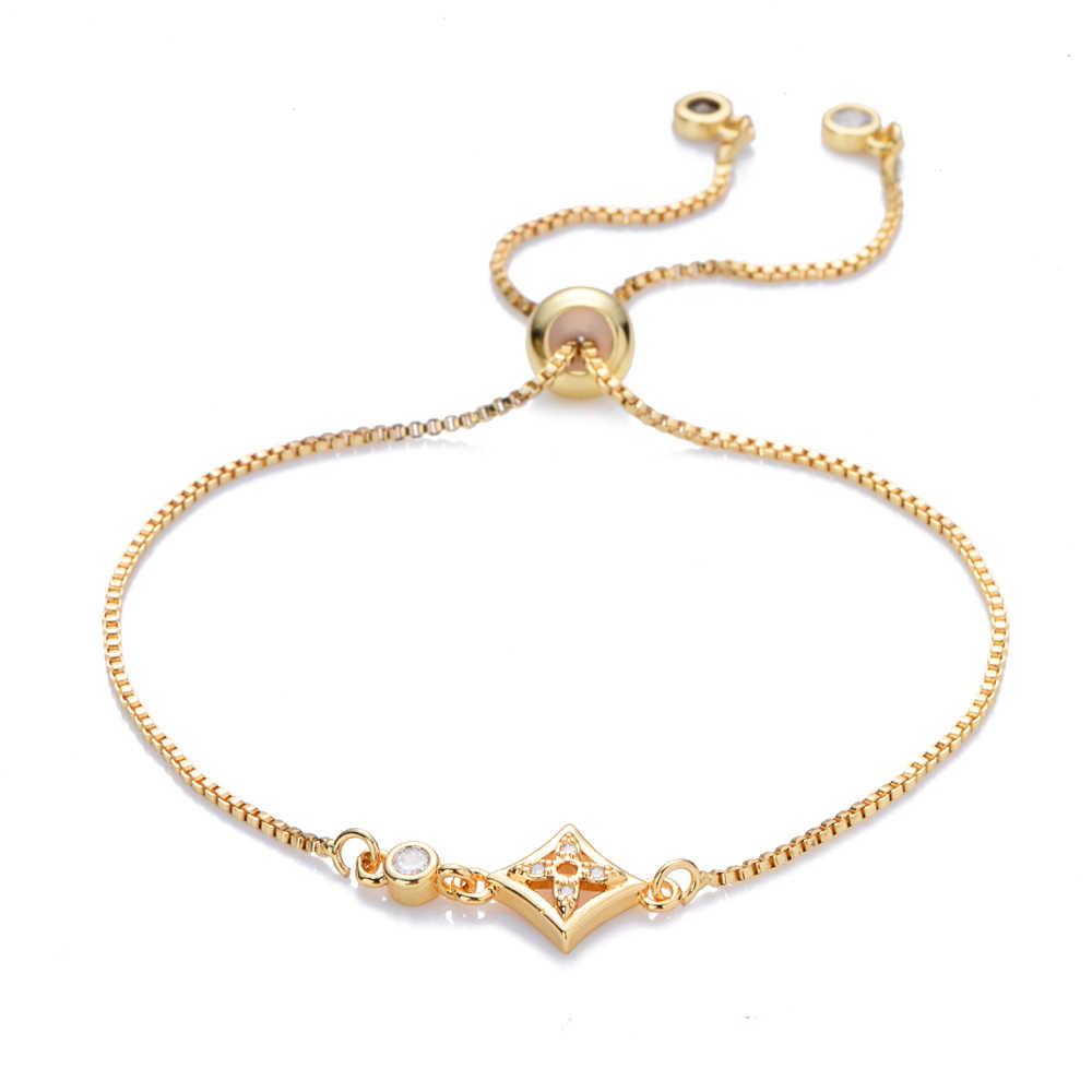 Nuevas pulseras y brazaletes geométricos arcoíris para mujeres joyería cz zircon serpiente cadena pulsera ajustable cadena pulsera accesorio femme