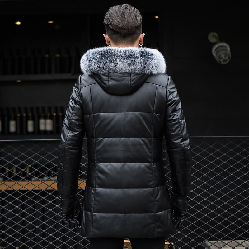 Genuine Leather Duck Down Jacket Men Winter Sheepskin Coat Fox Fur Collar Hooded Chaqueta Cuero Hombre ML-1204 KJ1187