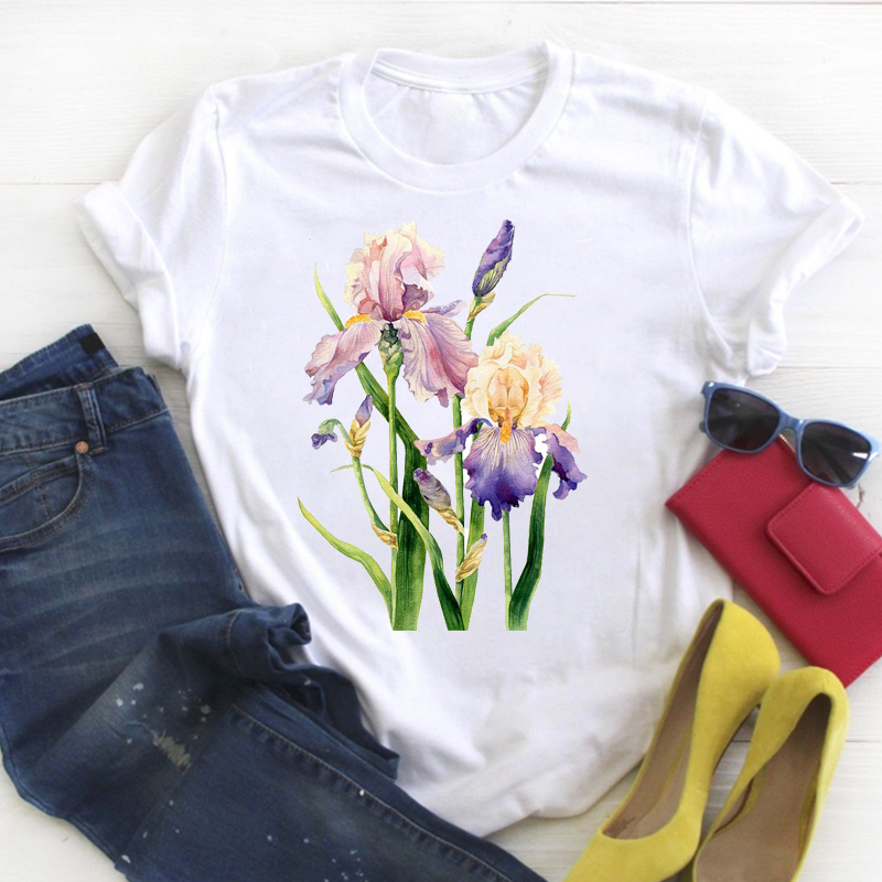Women Shirt Womens Flower Floral Watercolor Cute Summer Ladies Kawaii Clothes Tees Top Graphic Printed Tshirt Female T-shirt