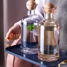 Nordic Stype Glass Carafe Water Pitcher with Wood Lid Cold Drinks Tea Jug Waterkoker Household Drinkware Clear Water Bottle(China)