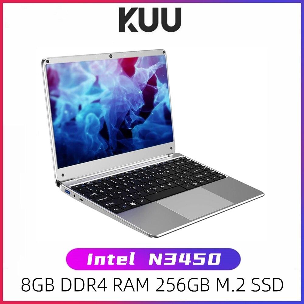 KUU 14 1 inch Intel N3450 Quad Core 8GB DDR4 RAM 256GB SSD Notebook IPS Laptop Full Layout Keyboard additional Sata 2 5 port