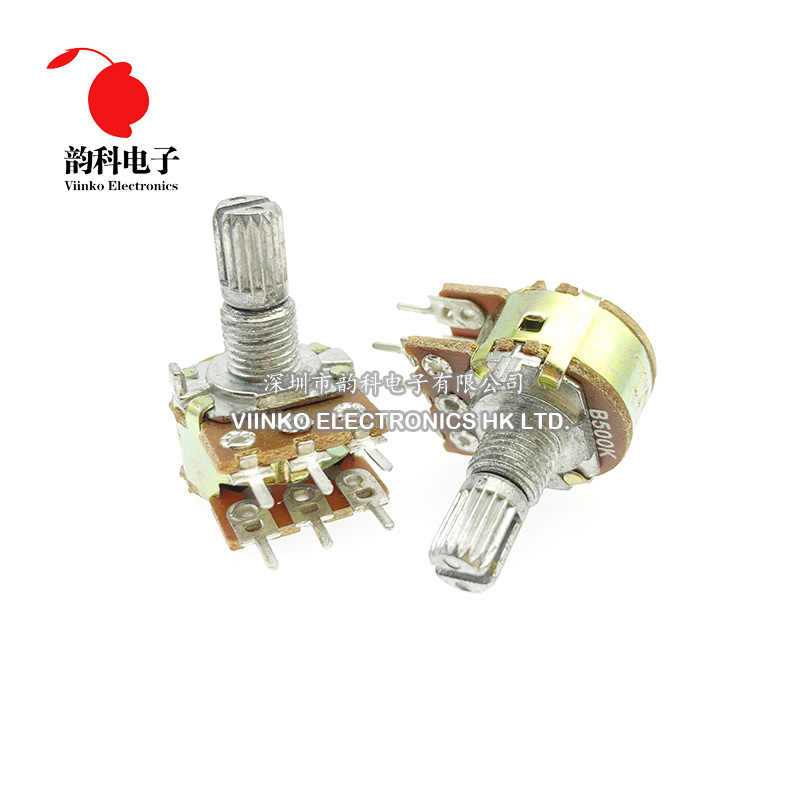 2pcs WH148 B1K B2K B5K B10K B20K B50K B100K B500K 6Pin 15mm Shaft Amplifier Dual Stereo Potentiometer 1K 2K 5K 10K 50K 100K 500K