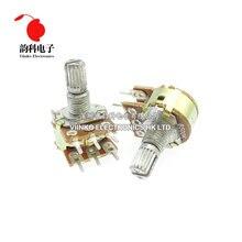 Amplificador de eixo duplo estéreo 2 peças, potenciômetro duplo 6 k b2k b5k b10k b20k b50k b100k b500k 6pin 15mm k 2k 5k 10k 50k 100k 500k