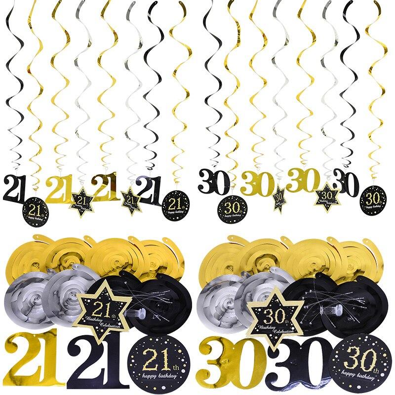 8 pçs/set 18/30/40/50/60 ano de idade, festa de aniversário, decoração, plástico, espiral, enfeites de folha para aniversário bandeira de pendurar para adultos