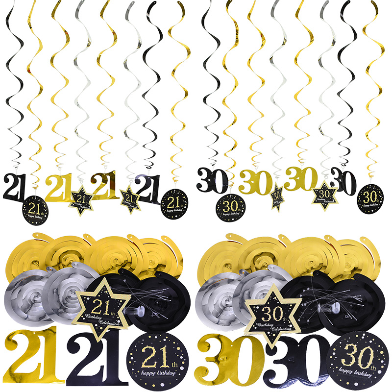 8pcs/set <font><b>18</b></font>/30/40/50/60 Year Old <font><b>Birthday</b></font> Party <font><b>Decoration</b></font> Plastic Spiral foil Ornaments for <font><b>Birthday</b></font> Adult Hanging Flag Garland image