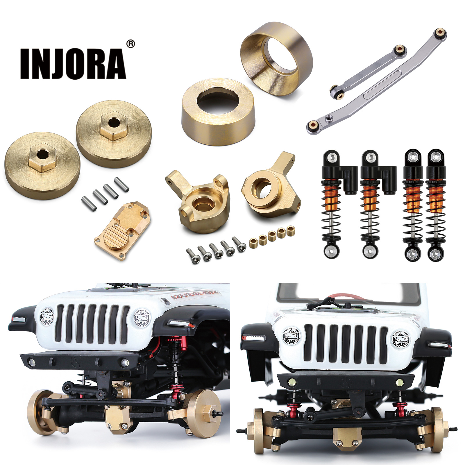 INJORA Brass Counterweight Steering Knuckles Wheel Hex Shock Absorber For 1/24 RC Crawler Car Axial SCX24 90081 Upgrade Parts