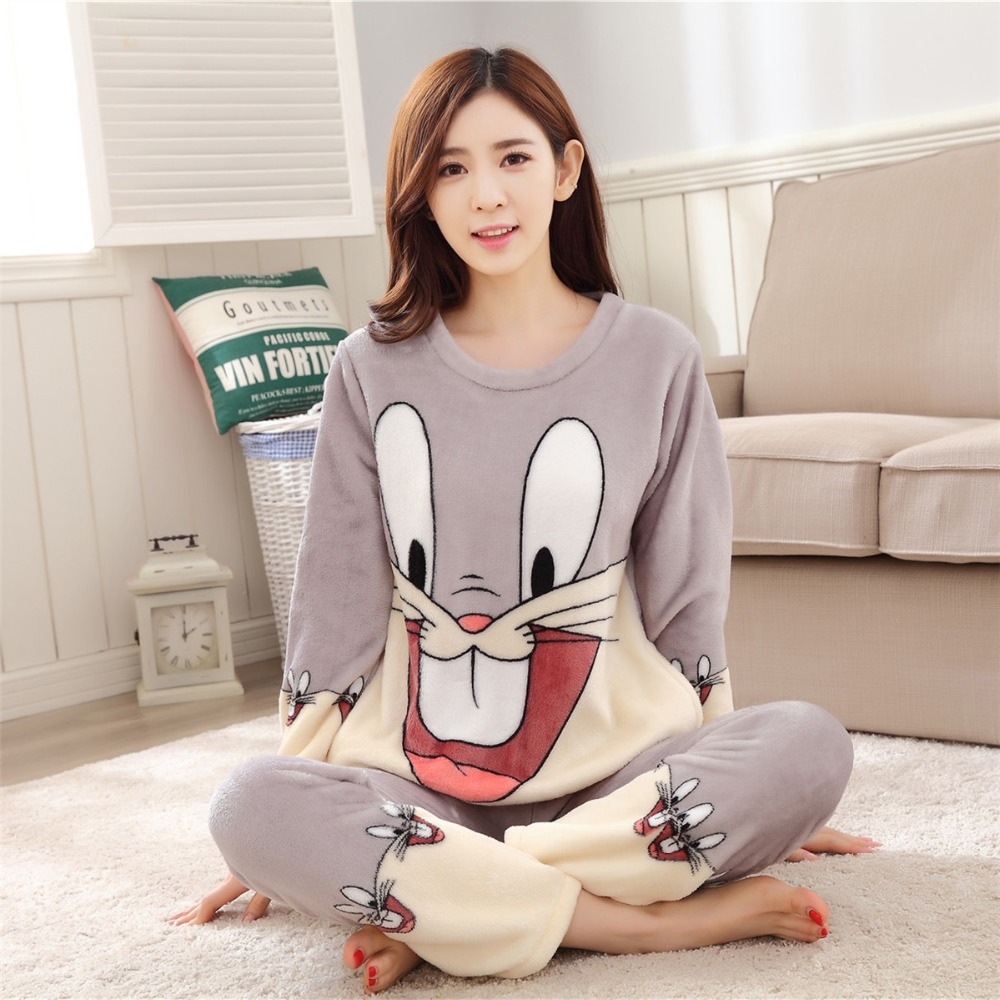 Women Pajamas Set For Autumn cute cartoon pink Women Clothes Sleepwear Nightgown For Women Long Sleeve And Pants Hot Sale pijama 73