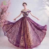 SSYFashion New Banquet Elegant Purple Evening Dress Lace Appliques Sequins A line Long Formal Gowns Special Occasion Dresses
