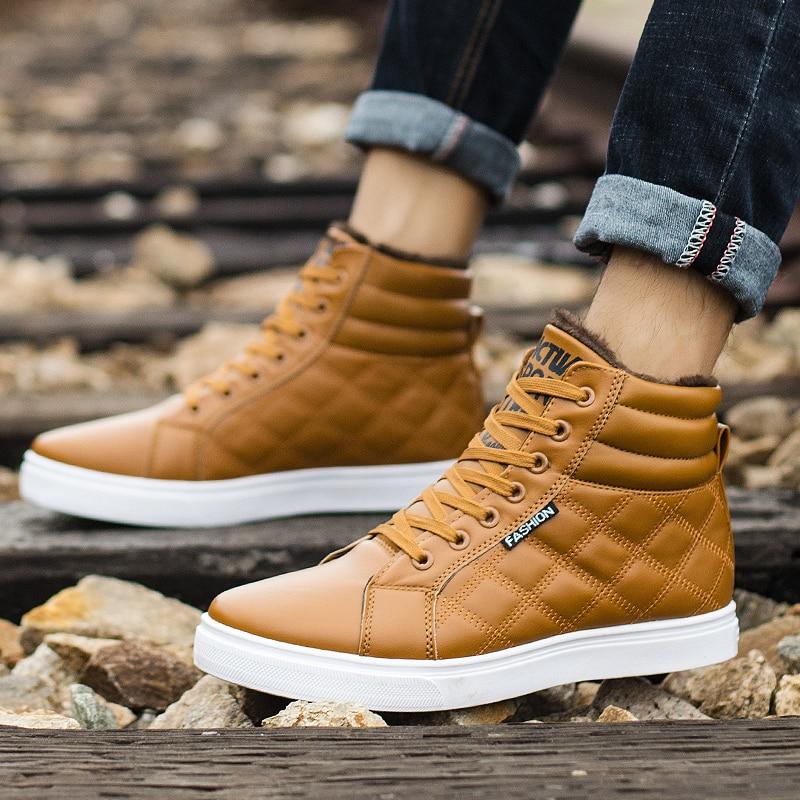 Image 5 - VESONAL 2019 зимние модные кожаные высокие кроссовки мужская обувь с мехом плюш теплая Повседневная Классическая удобная мужская обувь-in Мужская повседневная обувь from Обувь