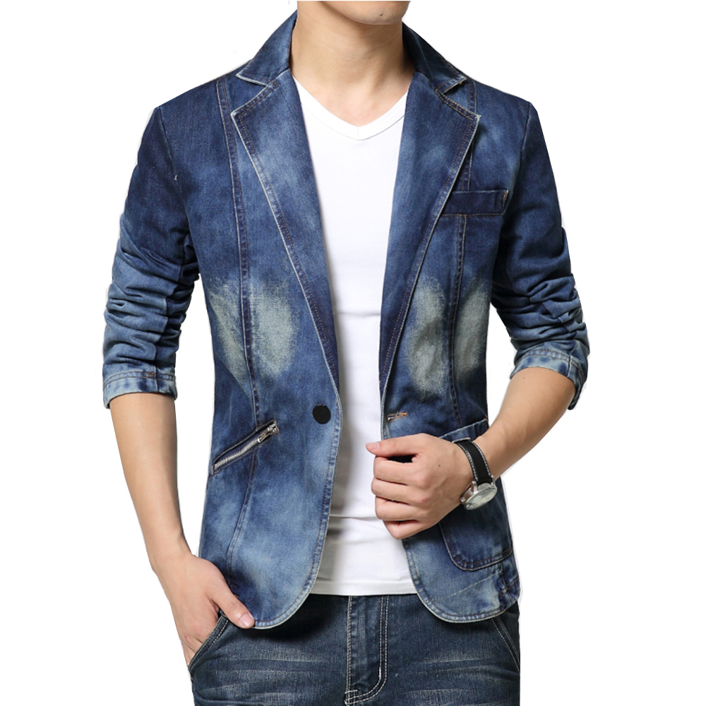 Denim Blazer Men Slim Fit Cowboy Male Coats Single Buckle Leisure Suit Jacket Man Casual Coat New 2018 Spring Autumn Clothing
