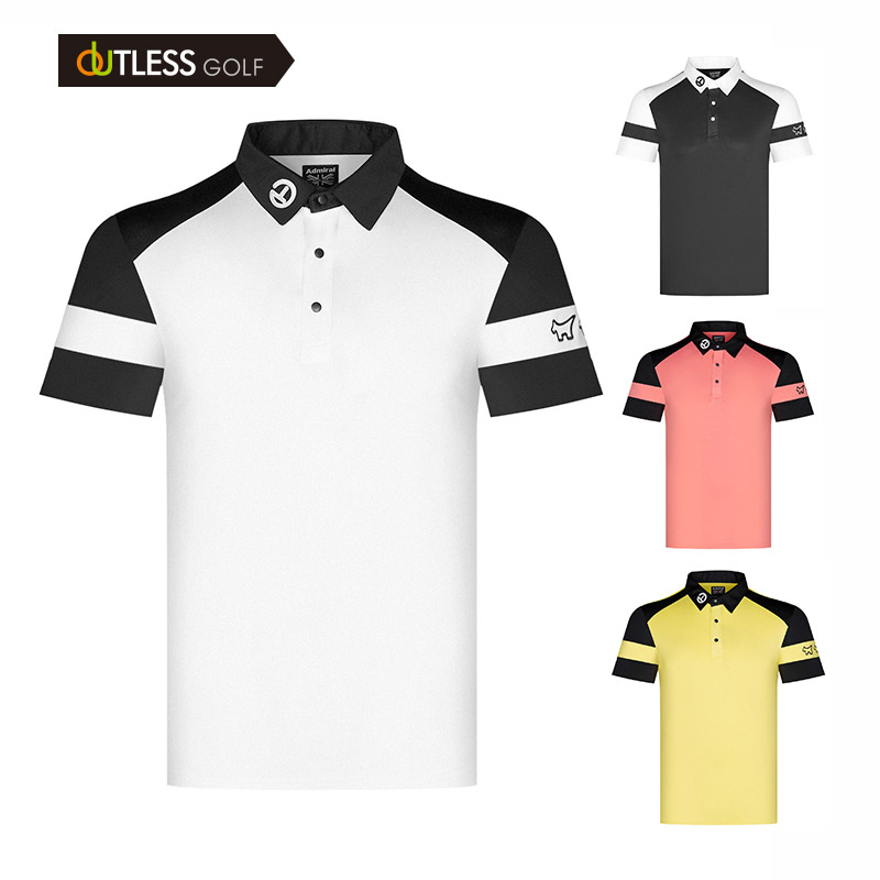 Golf Shirts for Men - Dry Fit Short-Sleeve Polo Casual Athletic Sports Collared T-Shirt Color contrast