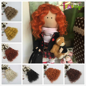 1 Piece Extension Wool Hair Wefts 18*100cm Yellow White Red Color Curly Doll Hair for BJD/SD DIY Wigs(China)