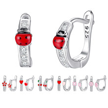 BELAWANG Cute 925 Sterling Silver Animal Ladybug Earrings For Child Red Enamel Small Ladybird Stud Earrings Fashion Jewelry Gift(China)
