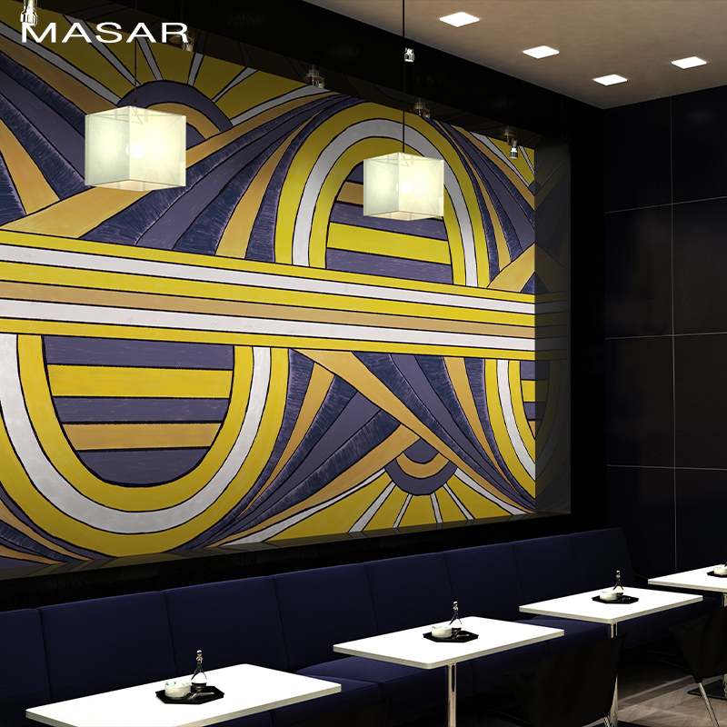MASAR 3D HD Colour-Coloured Mural Geometric Line Personality Wallpaper Entertainment Place Bar Background Wall Wallpaper
