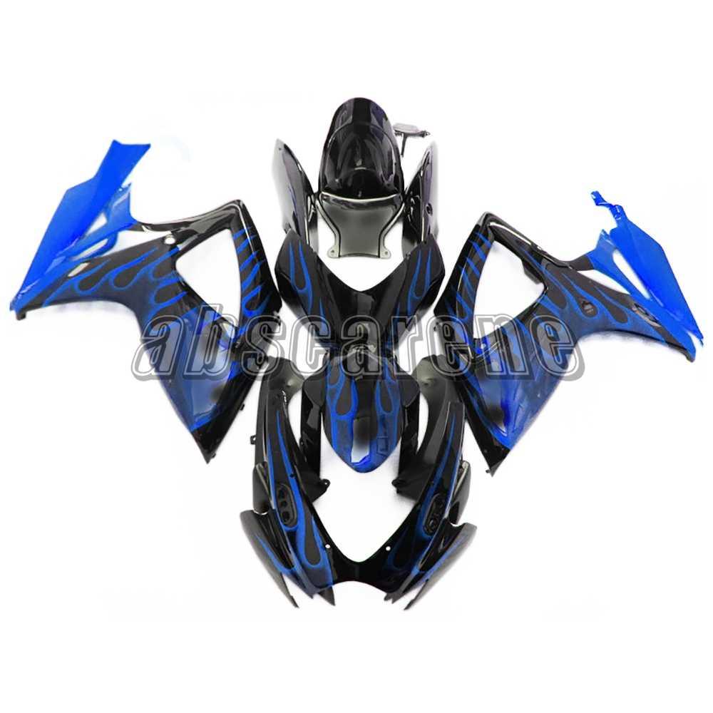 הזרקת שלם מעטפת לסוזוקי GSXR600 GSXR750 K6 2006 2007 G-SXR600 06 07 ABS פלסטיק אופנוע להריון ולידה כחול שחור