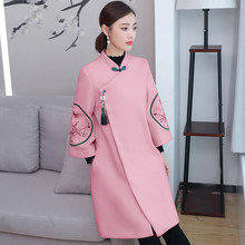 Women's Tang style woolen coat retro loose embroidered coat elegant women's coat trumpet sleeve coat(China)