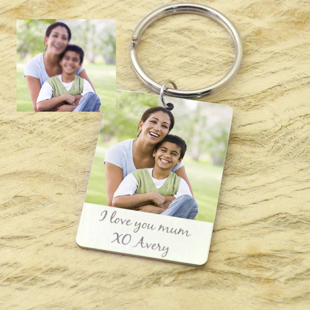 Personalized Photo Keychain Keepsake Gift For Mom Picture Key Ring Photo Jewelry For Mother's Day