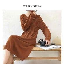 Werynica 2019 Autumn Winter Loose Sweater Dress Women Warm F