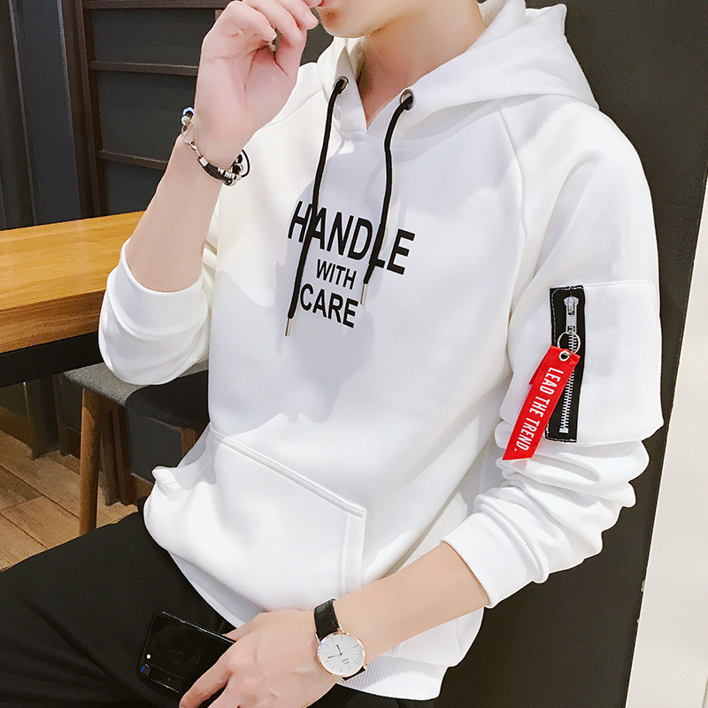 Vintage Sweatshirt Men Printed Letter Korea Style Hoodies Hooded Male Zipper Teenage Boys Pullovers Sweatshirts Men Clothing 4XL
