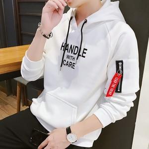 Vintage Sweatshirt Men Printed Letter Korea Style Hoodies Hooded Male Zipper Teenage Boys Pullovers Sweatshirts Men Clothing 4XL