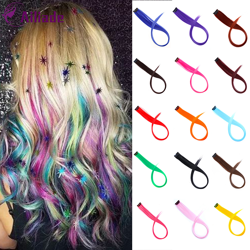 AILIADE Colored Highlight Synthetic Hair Extensions Clip In One Piece Color Strips 20