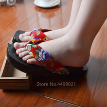 Japanese Kimono Slippers Geta Women Shoes Traditional Cosplay Female Ethnic Clogs Flip-Flops