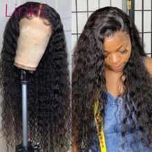 Links 28 30 40 polegada onda profunda do cabelo humano perucas da parte dianteira do laço para preto mulher pré arrancado brasileiro gluess água encaracolado peruca frontal