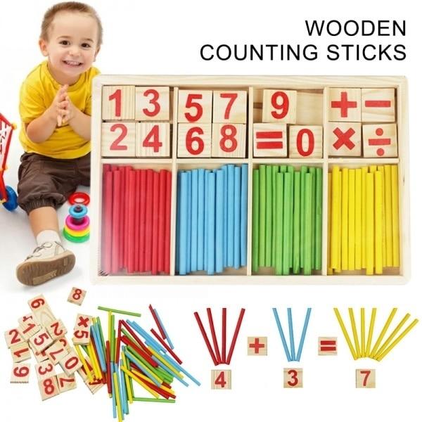 Цветные бамбуковые Счетные палочки, детская игрушка, учебные пособия по Монтессори, Счетный стержень для детского сада, математика, обучающая развивающая игрушка 3