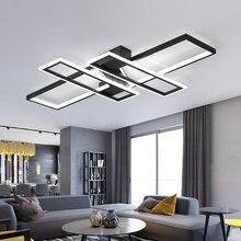 Moderno led lustre de luz para sala estar quarto cozinha casa lâmpadas teto controle remoto retângulo preto luminárias