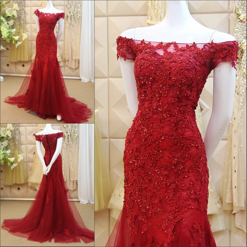 Boat Neck Red Tulle Mermaid Prom Party Sexy Vestido De Noiva  Lace Appliques Beading Pearls Evening Mother Of The Bride Dress